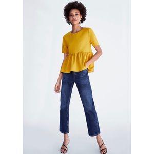 Zara mustard color Peplum Top L